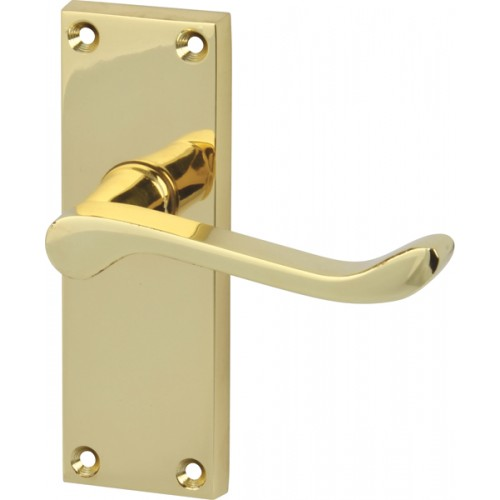 Polished Brass Victorian Scroll Door Handles - Latch Backplate