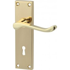 Polished Brass Victorian Scroll Door Handles with Lock