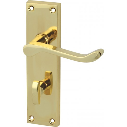 Polished brass victorian scroll door handles with for Brass bathroom door handles with lock