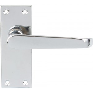 Polished Chrome Victorian Door Handles - Latch Backplate