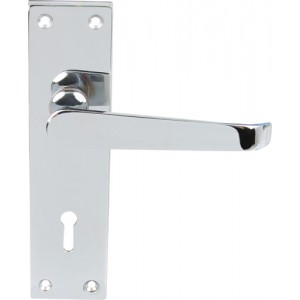 Polished Chrome Victorian Door Handles - Lock with Standard Keyway Backplate
