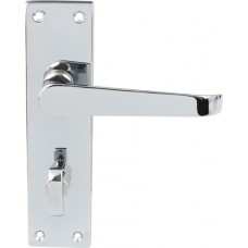 Polished Chrome Victorian Door Handles - Bathroom Lock Backplate
