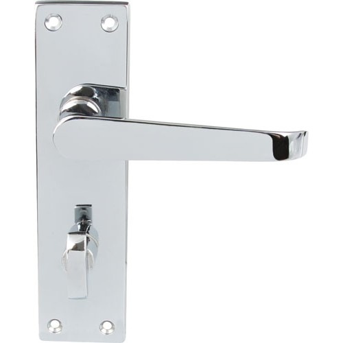 Polished Chrome Victorian Door Handles Bathroom Lock Backplate