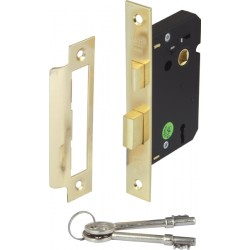Brass Finish Mortice 3 Lever Sashlock - 45mm Backset