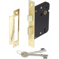 Brass Finish Mortice 3 Lever Sashlock - 57mm Backset