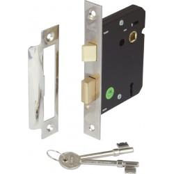 Nickel Finish Mortice 3 Lever Sashlock - 57mm Backset