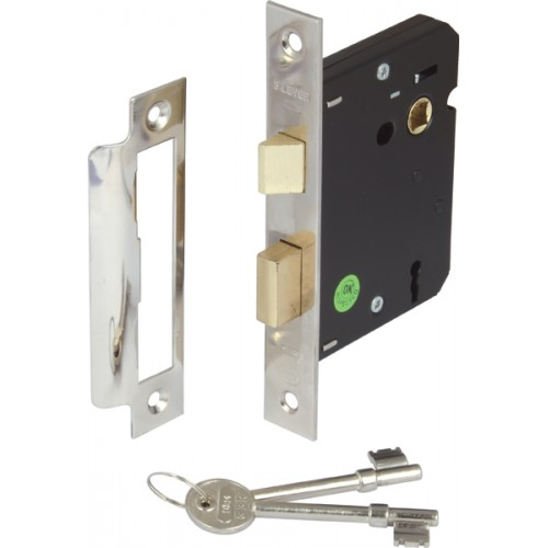 Nickel Finish Mortice 3 Lever Sashlock - 45mm Backset