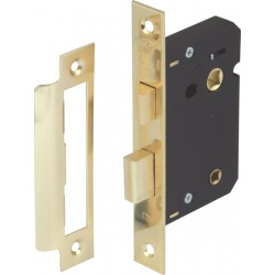 Brass Finish Mortice Bathroom Lock - 58mm Backset