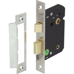 Nickel Finish Mortice Bathroom Lock - 58mm Backset
