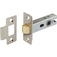 Nickel Finish Tubular Mortice Latch - 57mm Backset