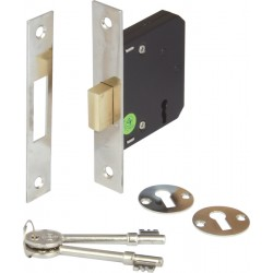 Nickel Finish Mortice 3 Lever Deadlock - 45mm Backset