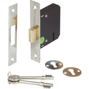 Nickel Finish Mortice 3 Lever Deadlock - 58mm Backset