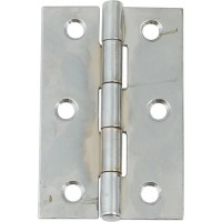 Pair of Door Hinges - Polished Chrome - 75mm x 49mm