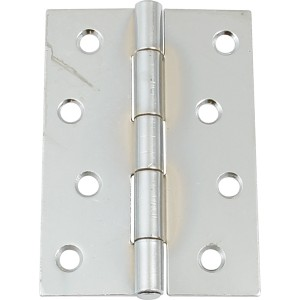 Pair of Steel Door Hinges - Polished Chrome - 100mm x 71mm