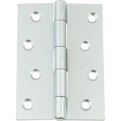 Pair of Steel Door Hinges - Bright Zinc Plated - 100mm x 71mm