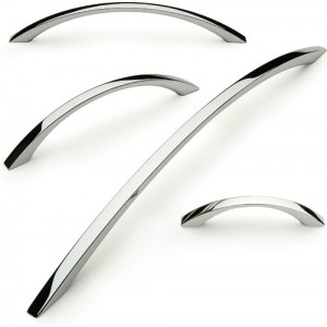 Polished Chrome Bow Cabinet Handles - Square Profile