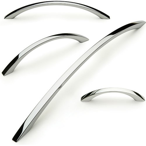 Kitchen Door Handles Bow Polished Chrome Square Profile