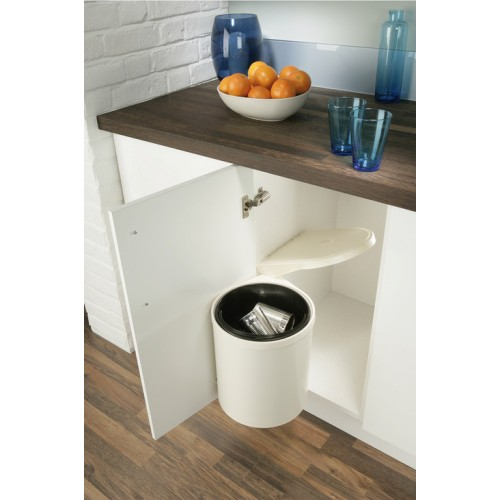 kitchen swing out waste bin 10l cream and white. Black Bedroom Furniture Sets. Home Design Ideas