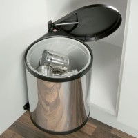Hailo Mono 15L Swing-out Kitchen Bin - Stainless Steel and Black