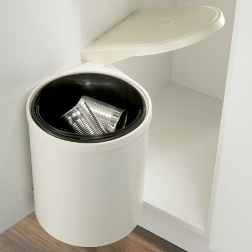 10L Kitchen Swing-out Bin - Cream and White