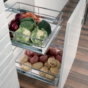 2 x Soft Close Chrome Pull Out Organisers - 400mm Cabinet