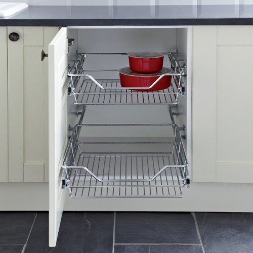 Pull out wire larder basket set for 300mm kitchen cabinets for Basket for kitchen cabinets