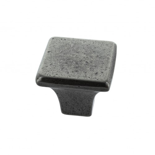 George Pewter Finish Square Cabinet Knob - 32mm