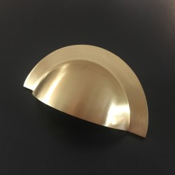 Monmouth Brushed Satin Brass Cup Handle | 64mm Centres