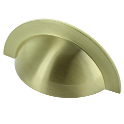 Monmouth Brushed Satin Brass Cabinet Cup Handle - 64mm Centres