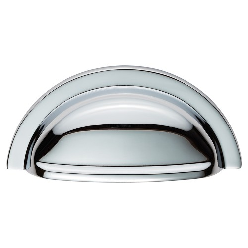 Cabinet cup pull handle polished chrome 76mm centres Fingertip design kitchen door handles