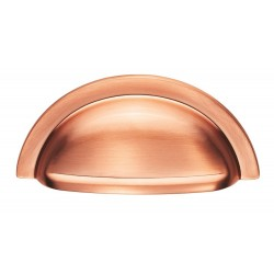 92mm Brushed Copper Cabinet Cup Pull Handle - 76mm Centres