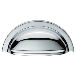 92mm Polished Chrome Cabinet Cup Pull Handle - 76mm Centres