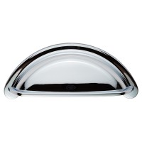 Polished Chrome Cabinet Cup Pull Handle - 76mm Centres