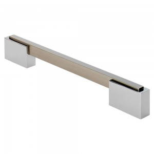 Aria Cabinet Handle - Satin Nickel/Polished Chrome - 160mm Centres