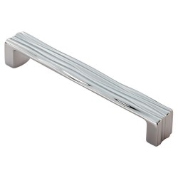 Veneti Polished Chrome Rippled Cabinet Handle - 160mm Centres