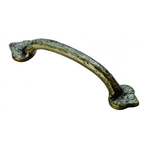 Fleur de Lys Hammered Pull Handle - Pewter Effect - 102mm Centres