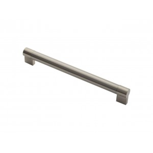 Large Keyhole Bar Handle - Satin Nickel/Stainless Steel - 256mm Centres