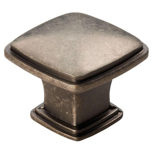 Arcadian Pewter Finish Square Cabinet Knob - 30mm