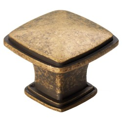 Arcadian Antique Brass Square Cabinet Knob - 30mm