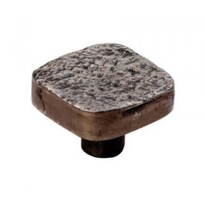 Dimpled Effect Square Knob - Pewter Finish