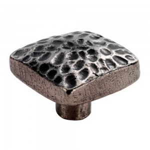 Hammered Effect Square Knob - Pewter Finish