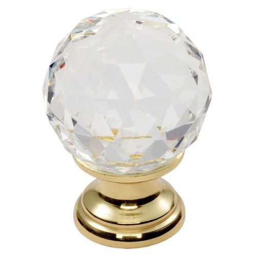 Clear Faceted Knob 40mm - Clear Translucent Brass