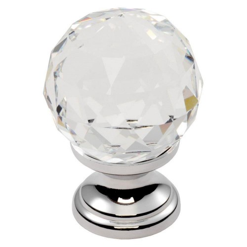 Clear Faceted Knob 25mm - Clear Translucent Chrome