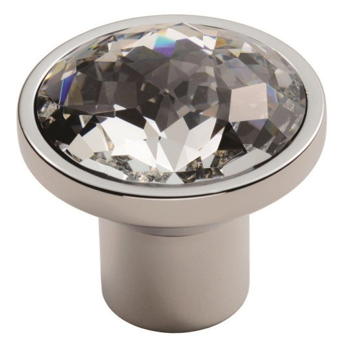 Round 34mm Crystal Knob - Polished Chrome