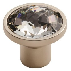 Round 34mm Crystal Knob - Matt Satin Nickel
