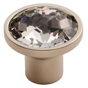 Round 34mm Crystal Knob - Matt Satin Nickel