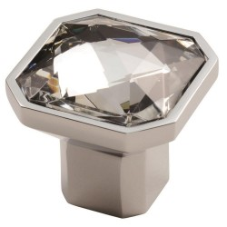 Square Crystal Knob - Polished Chrome - 32mm