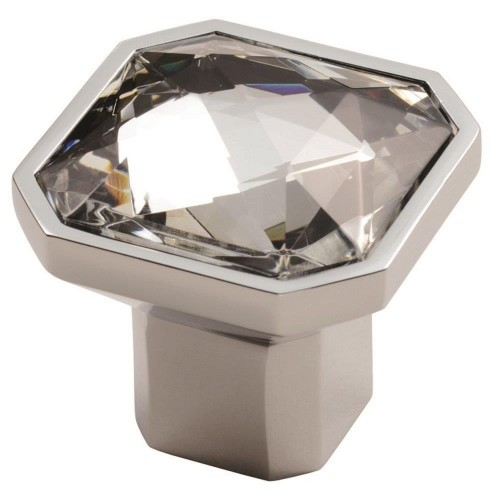 Square Crystal Knob - Polished Chrome - 38mm