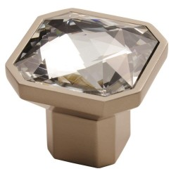 Square Crystal Knob - Matt Satin Nickel - 38mm