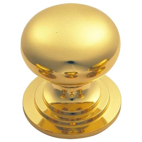 Polished Brass Victorian Cupboard Knob | 42mm